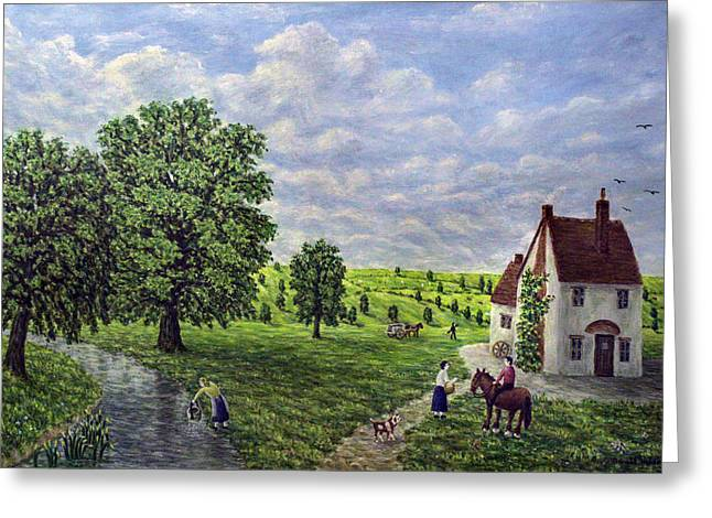 Fields Greeting Cards - Farm By The Stream - Lake District Greeting Card by Ronald Haber