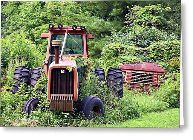 Farm Equipment Greeting Card by Susan Leggett