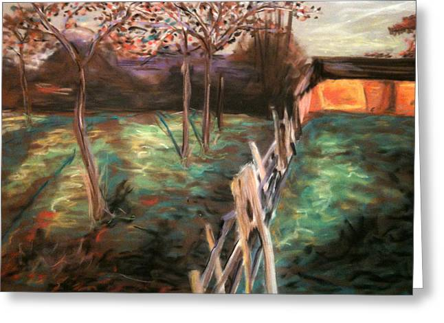 Fence Pastels Greeting Cards - Farm Fence Greeting Card by Ashley Prescott