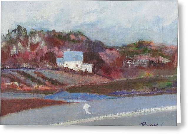 Old Roadway Paintings Greeting Cards - Farm House Cut Off of Route 5 Greeting Card by Betty Pieper