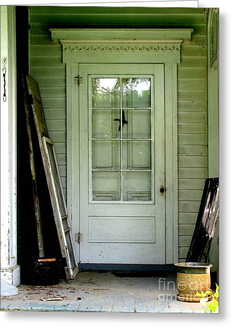 Original Art Photographs Greeting Cards - Farm House Door in White Greeting Card by Colleen Kammerer