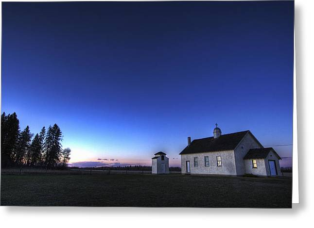 Farm House In Field At Sunset, Fort Greeting Card by Dan Jurak
