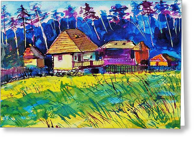 Ion Vincent Danu Greeting Cards - Farm Houses near Sibiu Romania Greeting Card by Ion vincent DAnu