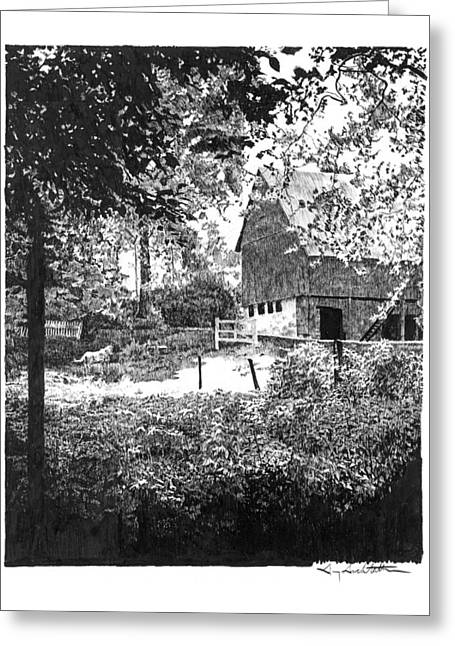 Barn Pen And Ink Greeting Cards - Farm in Illinois Greeting Card by Gary Gackstatter