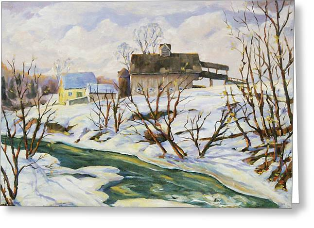 Flowers Direct Greeting Cards - Farm in Winter Greeting Card by Richard T Pranke