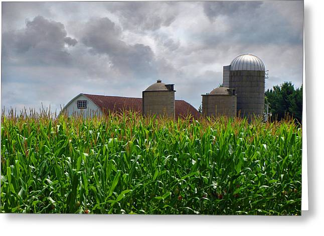 Storm Cloud On The Horizon Greeting Cards - Farm Landscape Greeting Card by Ms Judi