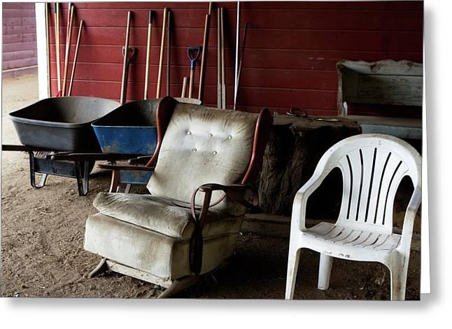 Lawn Chair Greeting Cards - Farm Lounge Greeting Card by Lorraine Devon Wilke