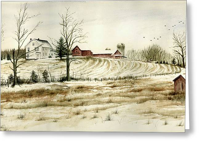 Wintery Barn Greeting Cards - Farm on Belcher Road Greeting Card by Tom Hedderich
