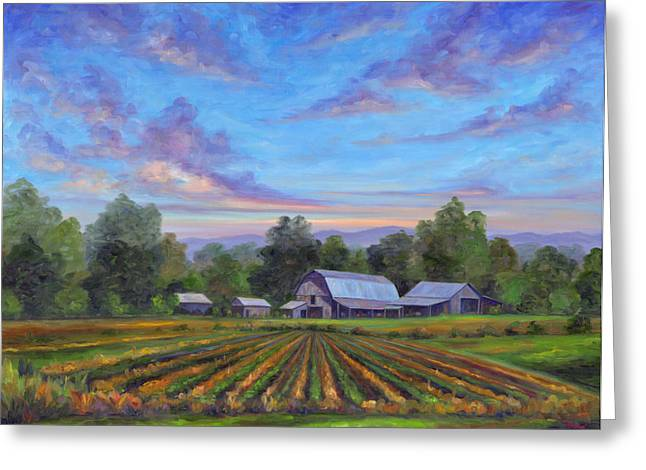Crops Paintings Greeting Cards - Farm on Glenn Bridge Greeting Card by Jeff Pittman