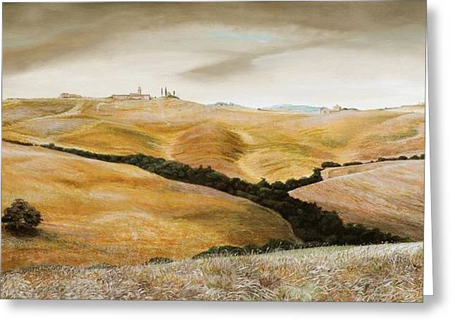 Italian Tuscan Greeting Cards - Farm on Hill - Tuscany Greeting Card by Trevor Neal