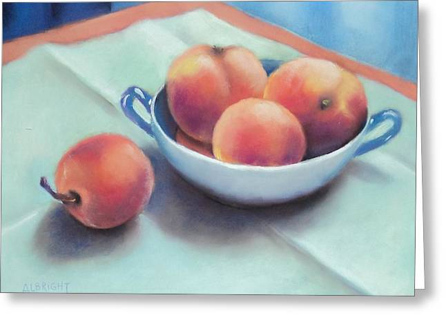 Napkin Pastels Greeting Cards - Farm Peaches Greeting Card by Judy Albright