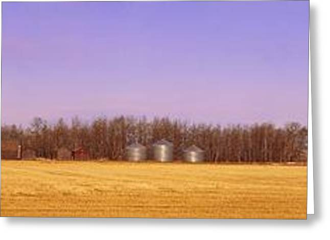 Canadian Prairie Landscape Greeting Cards - Farm Scene North Of Calgary, Alberta Greeting Card by Corey Hochachka