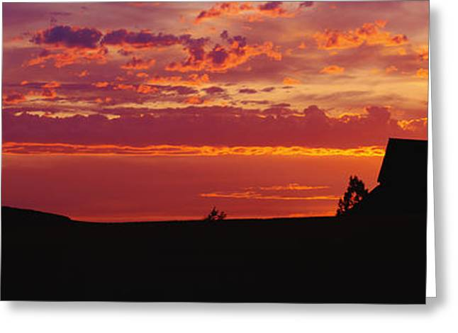 Farm Sunset Greeting Card by Joe Sohm and ChromoSohm and Photo Researchers