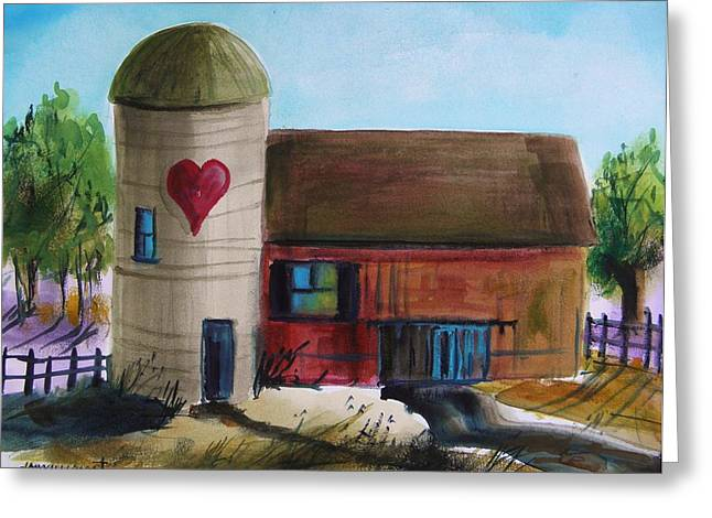 Barn Door Drawings Greeting Cards - Farm with a Heart Greeting Card by John  Williams