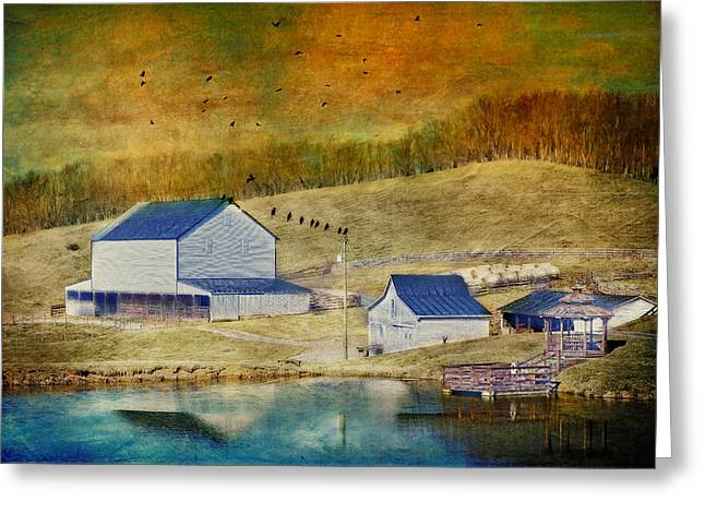 Farm Photographs Greeting Cards - Farm With A Pond Greeting Card by Kathy Jennings