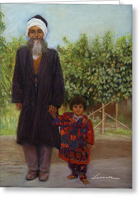 Farmer Pastels Greeting Cards - Farmer and Grand son  Greeting Card by Leonor Thornton