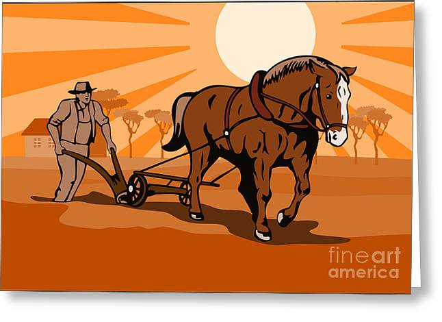 Farmers Field Digital Art Greeting Cards - Farmer and Horse Plowing Farm Retro Greeting Card by Aloysius Patrimonio