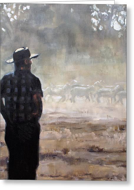 Farmer And Sheep Greeting Card by Gaye White