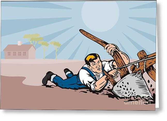 Farmers Field Digital Art Greeting Cards - Farmer Dragged Plow Plowing Farm Retro Greeting Card by Aloysius Patrimonio