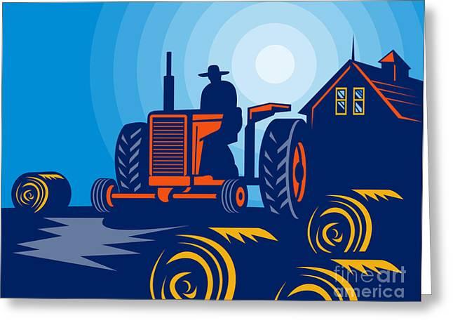 Farmer driving vintage tractor Greeting Card by Aloysius Patrimonio