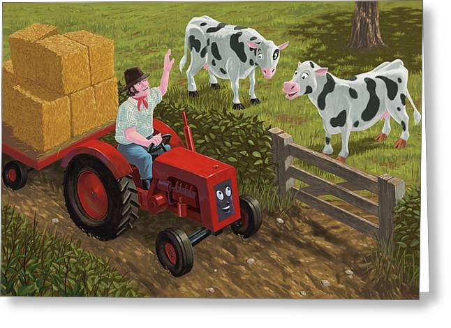 farmer visiting cows in field Greeting Card by Martin Davey
