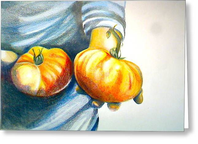 Local Food Drawings Greeting Cards - Farmers Market 1 Greeting Card by Cami Rodriguez