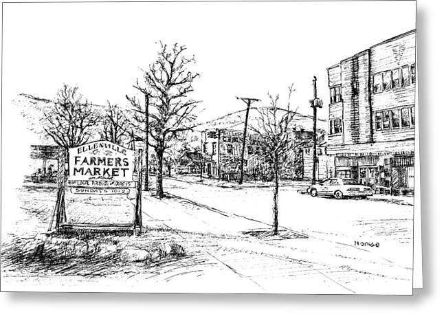 Small Towns Drawings Greeting Cards - Farmers Market Greeting Card by Monica Cohen