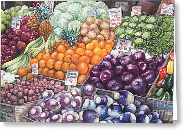 Local Food Paintings Greeting Cards - Farmers Market Greeting Card by Nancy Pahl