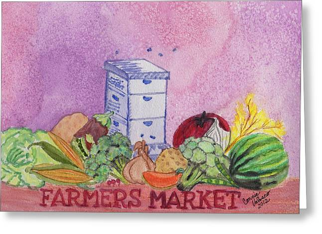 Fod Greeting Cards - Farmers Market No.3 Greeting Card by Connie Valasco