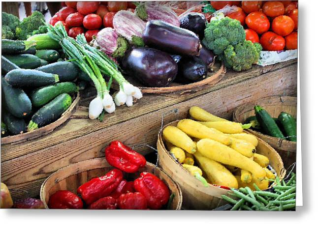 Farmers Market Summer Bounty Greeting Card by Kristin Elmquist