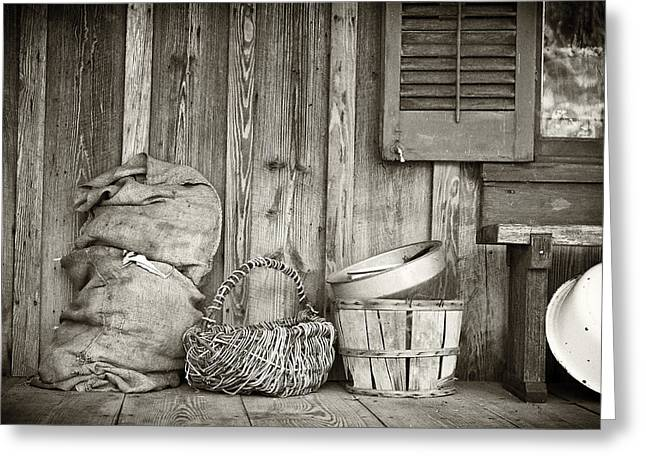Pioneer Homes Photographs Greeting Cards - Farmers Porch Greeting Card by Patrick M Lynch