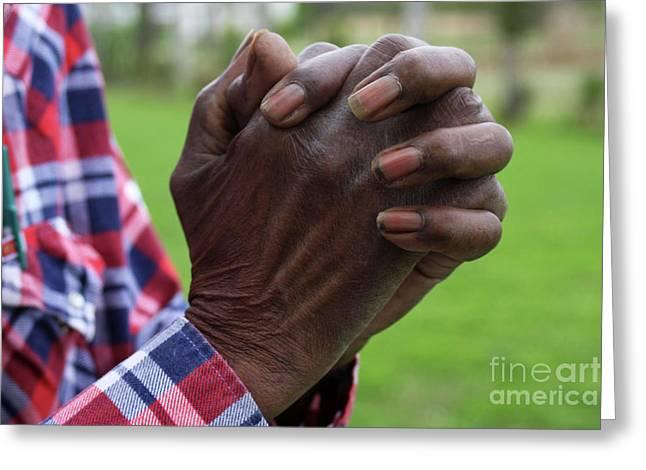 Praying Hands Photographs Greeting Cards - Farmers Prayer Greeting Card by Joy Tudor