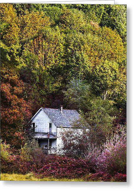 Foggy Beach Greeting Cards - Farmhouse in Fall Greeting Card by Debra and Dave Vanderlaan