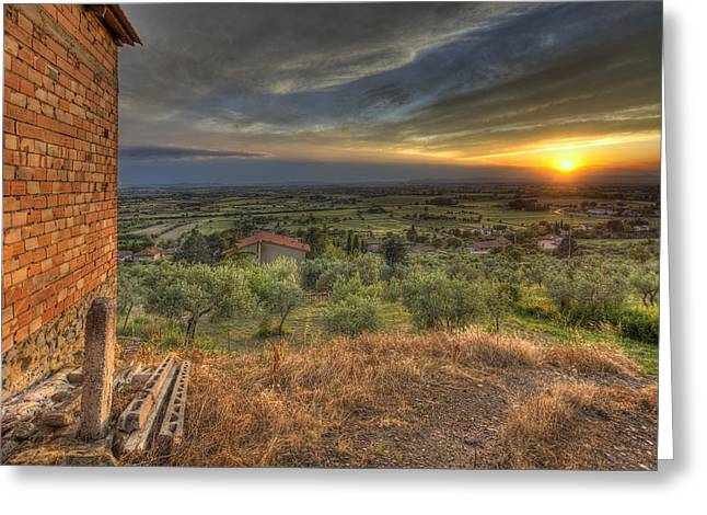 Cortona Greeting Cards - Farmhouse in the valley Greeting Card by Al Hurley