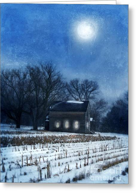 Snowy Night Night Greeting Cards - Farmhouse Under Full Moon in Winter Greeting Card by Jill Battaglia