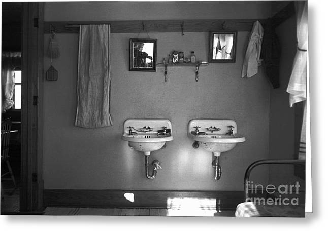 Early Sink Greeting Cards - Farmhouse Washroom, 1936 Greeting Card by Granger