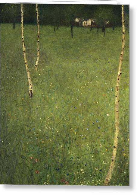 Farmhouse Greeting Cards - Farmhouse with Birch Trees Greeting Card by Gustav Klimt