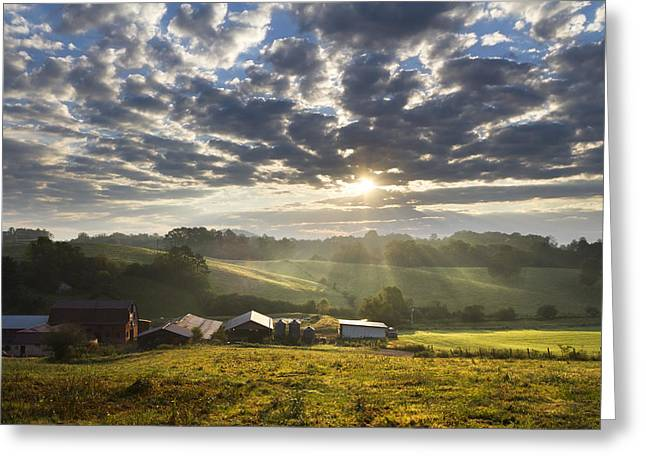 Red Roofed Barn Greeting Cards - Farmlands of Appalachia Greeting Card by Debra and Dave Vanderlaan
