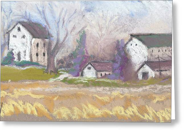 Farmstead on Woollie Greeting Card by Jane Wilcoxson