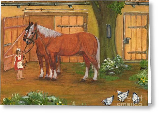 Polish American Painters Greeting Cards - Farmyard Greeting Card by Anna Folkartanna Maciejewska-Dyba