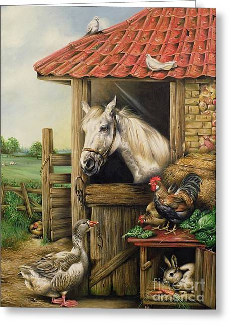 Cockerel Greeting Cards - Farmyard Friends Greeting Card by Carl Donner