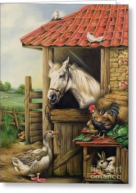 Cockerels Greeting Cards - Farmyard Friends Greeting Card by Carl Donner
