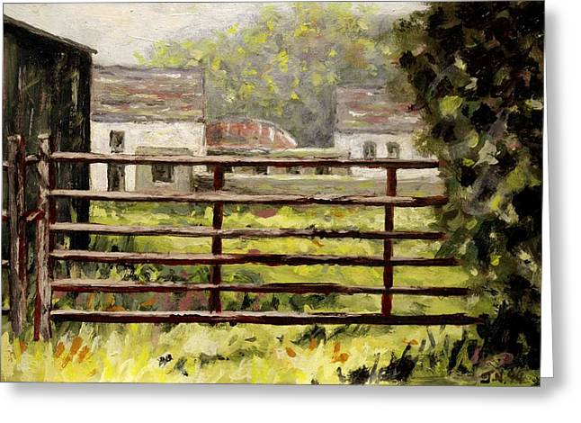 Shed Paintings Greeting Cards - Farmyard Gate Greeting Card by John  Nolan