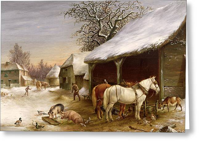 Country Shed Greeting Cards - Farmyard in Winter  Greeting Card by Henry Woollett
