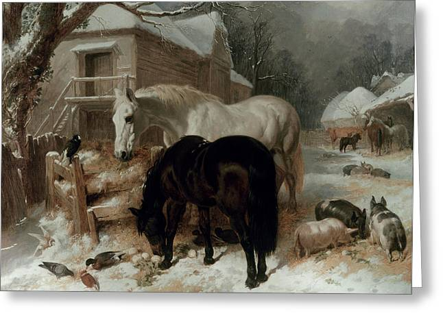 Wintry Greeting Cards - Farmyard Scene Greeting Card by John Frederick Herring Snr