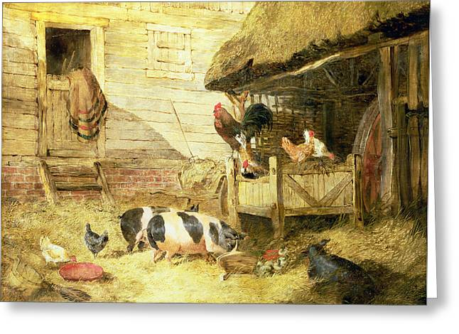 Herring Greeting Cards - Farmyard Scene Greeting Card by John Frederick Herring Snr