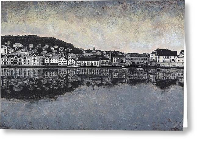 Boats In Reflecting Water Drawings Greeting Cards - Farsund Waterfront Greeting Card by Janet King