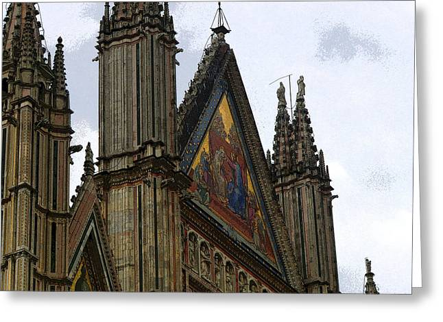 Orvieto Greeting Cards - Fascade of Orvieto Italy Greeting Card by Mindy Newman