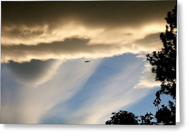 737 Greeting Cards - Fascinating Clouds And A 737 Greeting Card by Will Borden