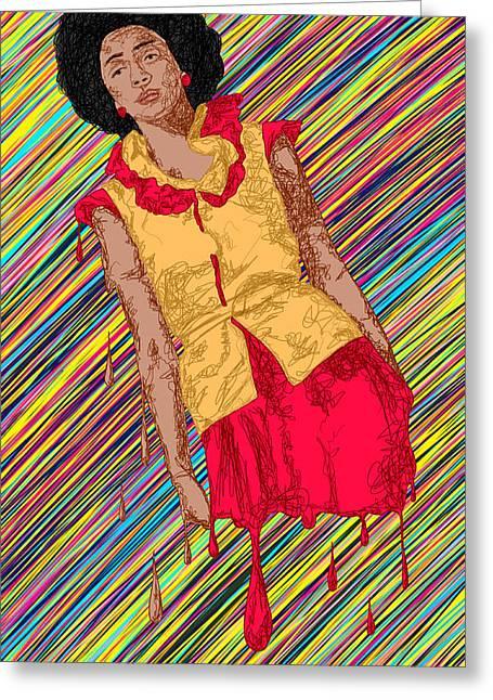 Fashion Abstraction De Fella Greeting Card by Kenal Louis